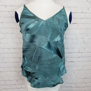 Anthropologie|Floreat Crepe Light Teal Tank